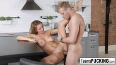 Babe tugs on hard dick Thumb