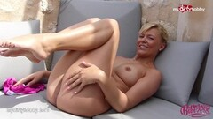 Naughty Blonde masturbating outdoor! Thumb